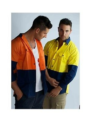Hi Vis Cotton Drill Shirt Work Long Sleeve Vents Vented Cool Summer Breathable