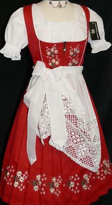Dirndl Oktoberfest German Dress EMBROIDERY 3 Pcs LONG Red Bavarian Garden Dress