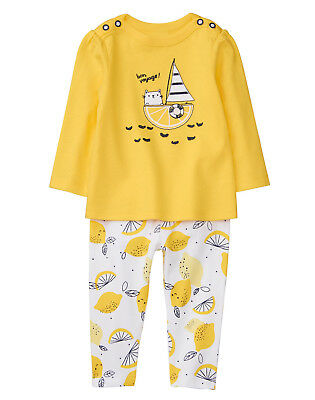NWT Gymboree Bright Days Ahead Lemon Sailing Kitty Outfit 2PC Baby Girl