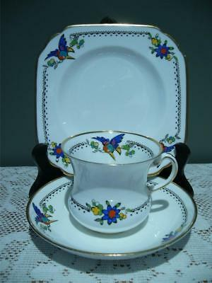 Tuscan Bone China Trio - Art Deco - Hand Enameled Birds - Cup Saucer Plate - Rc