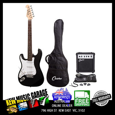 Casino St-Style Left Handed Electric Guitar And 10 Watt Amplifier Pack Black