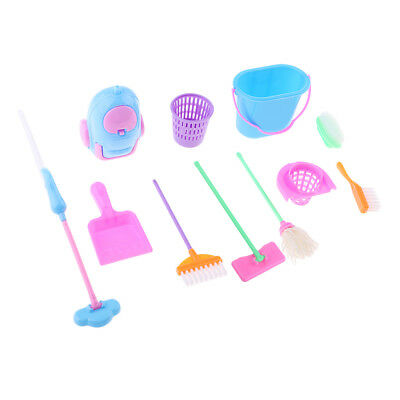 9 Pcs/ lot Mini Household Cleaning Tools Furniture For Barbie Dollhouse