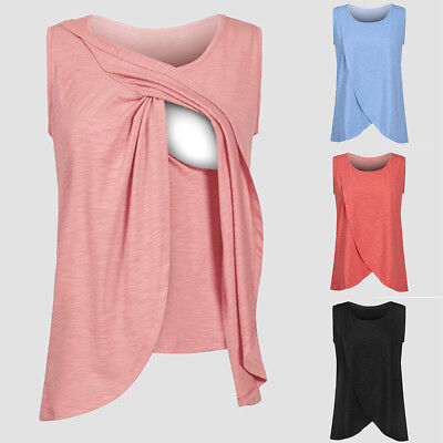 Women Maternity Clothes Breastfeeding Tank Tops Nursing Sleeveless Vest T Shirt