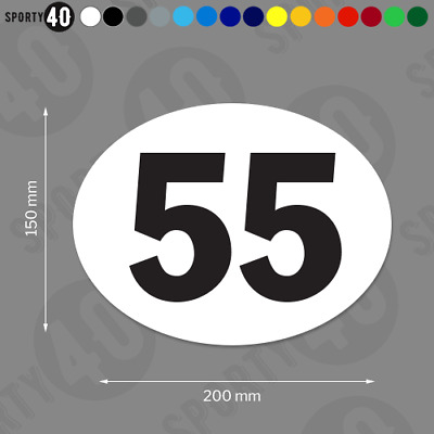 200mm Oval Race Number - Vinyl Stickers / Decals - Classic Bike Car Racing