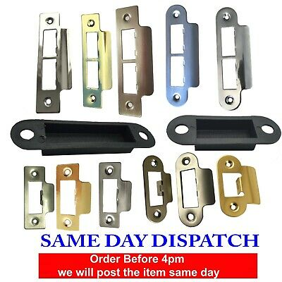 Door Strike Plate Polished Chrome or Brass Long Plates Tubular Mortice Latch
