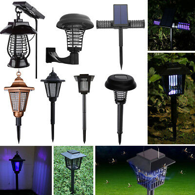 Solar Power LED Outdoor Mosquito Fly Bug Zapper Pest Insect Killer Light Lamp