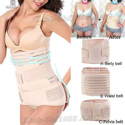 AU Post-partum Supporting Recovery Belly Waist Training Belt 3 in1 Body Shapers