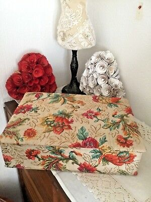 Pretty Vintage Large  French Fabric Covered Boudoir Trinket Compartment Box