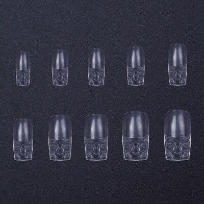 500Pcs Acrylic Nail Tips Clear Glass Full Curved French False Nail Art Design