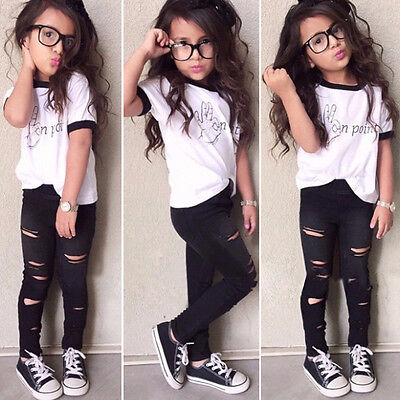 Kids Girls Summer Clothes Shirt Tops + Ripped Pants Casual Cartoon Outfit 2PCS