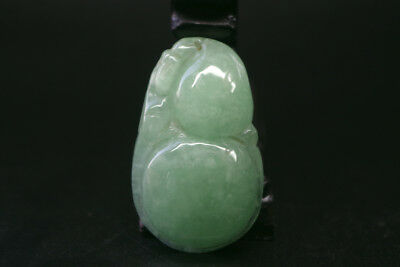 Vintage Exquisite Chinese old ice green jade Hand-carved gourd pendant R-063