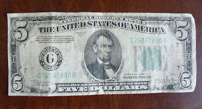 1934-C G Chicago Series US $5 Five Dollar Federal Reserve Note circulated