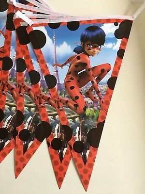 Miraculous Ladybug Triangle Flag Banner Children's Birthday Party Decorations