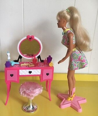 Exc Condition Bulk Lot Barbie Doll, Clothes, Vanity Table, Stool & Accessories