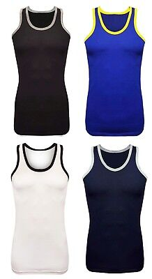 b7565ee34e669 New Men s Muscle Top Contrast Colored Piping Gym 100% Cotton Summer Vest Top