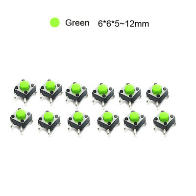 Small Micro Momentary Green Tactile Push Button PCB Switch 6x6x5mm~12mm Heigth