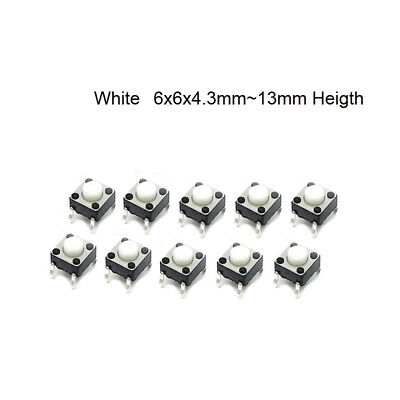 Small White 4-Pin Tactile Push Button Miniature PCB Switch 4.3mm to 13mm Heigth