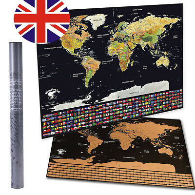 Deluxe Travel Edition Scratch Off World Map Personalized Travel Vacation Log UK