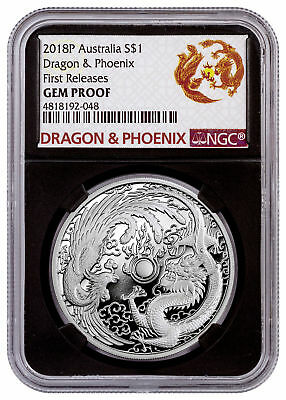 2018-P Australia 1 oz Silver Dragon & Phoenix $1 NGC GEM Proof FR Black SKU54004