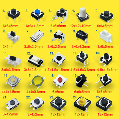 SMD Vertical Horizontal Tactile Push Button Switch 25-Types for Your Choice Mini