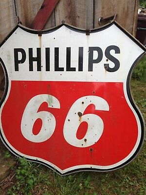 """VINTAGE 48"""" Phillips 66 Double Sided Sign Gas Station Metal with hinge trim"""