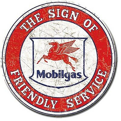 Mobilgas Friendly Service round fridge magnet 75mm diameter (de)