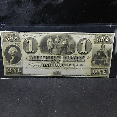 1841 MINERS BANK Pottsville, PA $1 Dollar obsolete banknote Unissued UNC RARE