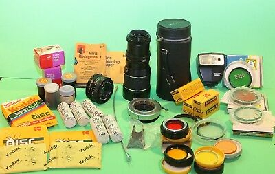 Vintage Photo & Camera Items Unused Film & Canon Lens Alphax Disc Film & More!