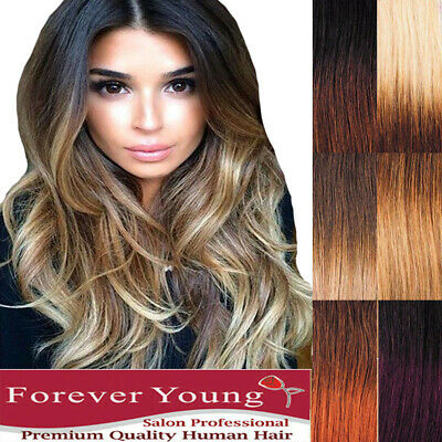 AAA+ Clip in Real Thick Human Hair Extensions Full Head 100% Ombre Remy Hair UK