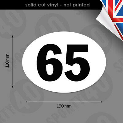 150x110mm Oval Race Number - Vinyl Sticker / Decal - Classic Bike Scooter Racing