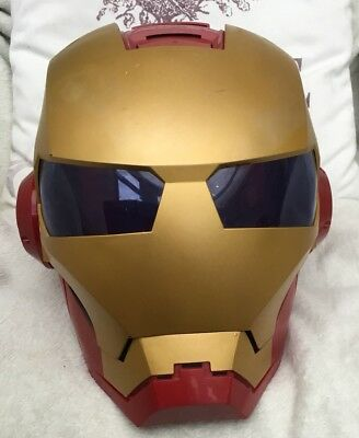 IRON MAN FULL FACE MASK WITH LIGHT & SOUND Lift Up Visor Fits Children & Adults