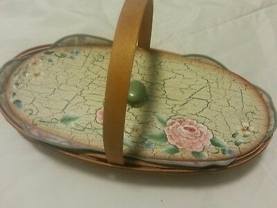 Victorian Longaberger Basket, protector, pink flowered liner with matching lid