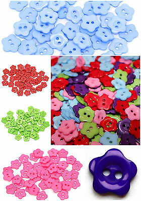 Small Daisy Flower Buttons 14mm Mixed Colours Plastic 2 Holes Sewing Craft