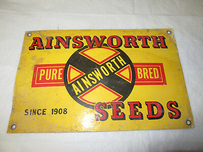 Ainsworth Pure Bred seeds Mason City Illinois Early Cardboard Seed Sign
