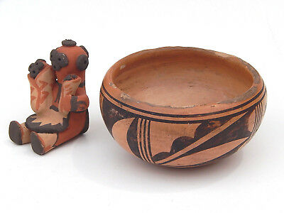 2pc. Antique Hopi Chochiti Pueblo Pottery Bowl and Story Teller