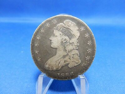 1836 Capped Bust Silver Half Dollar Coin Lettered Edge - Very Good