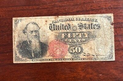 1866 United States 50 Cent Fractional Currency Paper Money Note