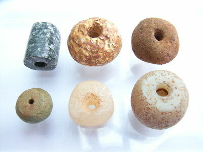 6 Ancient Neolithic Quartz, Stone, Granite, Clay Beads, Stone Age, RARE !!