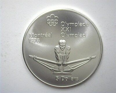 Canada 1974 Silver 5 Dollars -Rowing, 1976 Olympics- Perfect Uncirculated