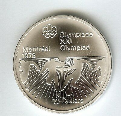 Canada 1976 Silver 10 Dollars - Montreal Olympics Series - Football  Perfect Unc