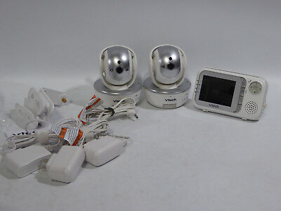 VTECH VM333-2 Color Video Baby Monitor Pan Tilt w TWO Night Vision LED Cameras