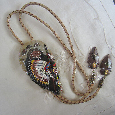 Custom One-Only Hand-Painted Arrowhead Bolo, Signed, Braided Leather Tie; 1980's