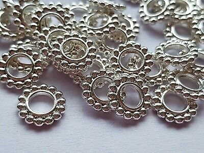 Silver Plated Round Flower Spacer Beads 10mm Jewellery making - Crafts