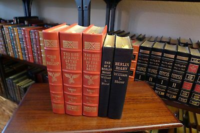 Easton Press Rise & Fall of Third Reich, Berlin Diary, Shirer, 5V, WWII, Leather