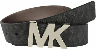 Michael KORS Unisex BELT Size M Black with Silver Tone MK Logo NEW with Tag