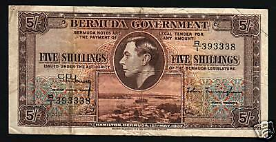 Bermuda 5 Shillings P8 1937 King George Vi  Boat Currency Money Banknote Cat$325