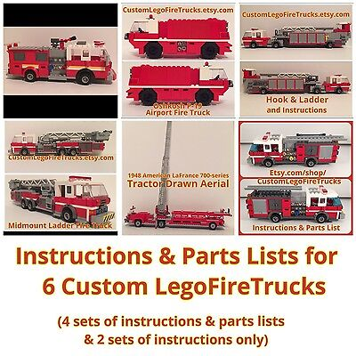 6 Sets Of Custom Lego Fire Truck Instructions Parts Lists On Cd
