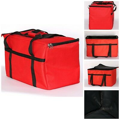 Insulated Delivery Bag Pan Carrier For Hot Cold Food Drinks Keeper Red 23x13x15""