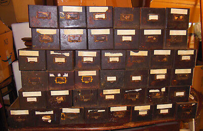 Antique Apothecary General Store Hardware Drawers 50 Drawers Oak Original