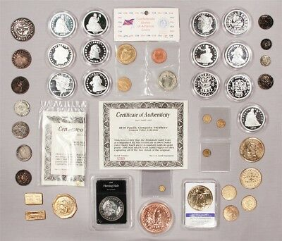 Mixed Lot of Exonumismatic Items, Tribute Coins - Includes Two 24K Gold Minis